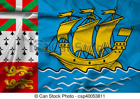 Clipart of Waving Flag of Saint Pierre and Miquelon (unofficial.