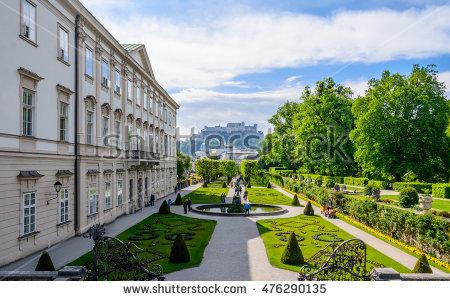 Mirabell Gardens Stock Photos, Royalty.