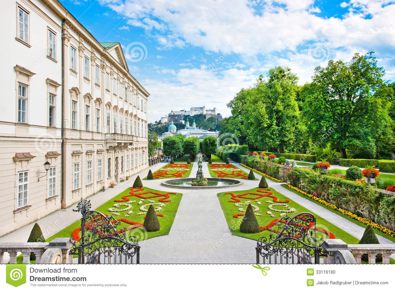 Mirabell Gardens With Mirabell Palace In Salzburg, Austria Stock.