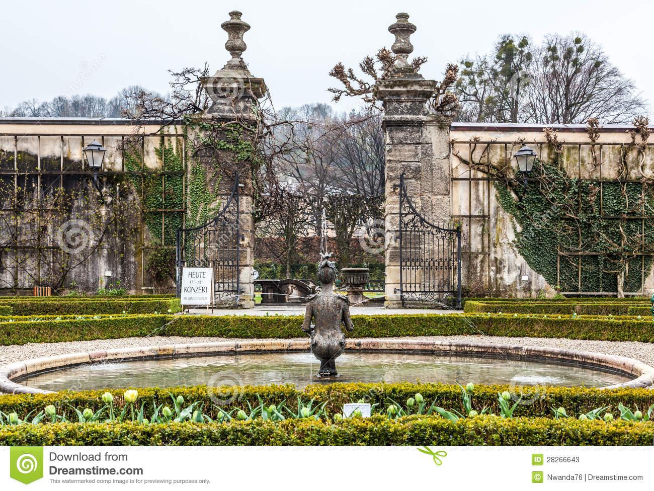 Fountain, Mirabell Garden, Salzburg Stock Photos.