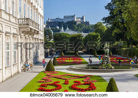 """Stock Photograph of """"Mirabell Palace and Mirabell Gardens with."""
