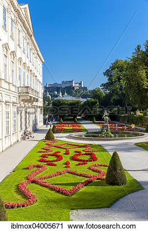 """Stock Photography of """"Mirabell Palace and gardens with the Pegasus."""