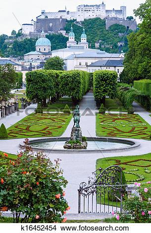 Stock Photo of Summer Gardens of Mirabell Palace (Salzburg.