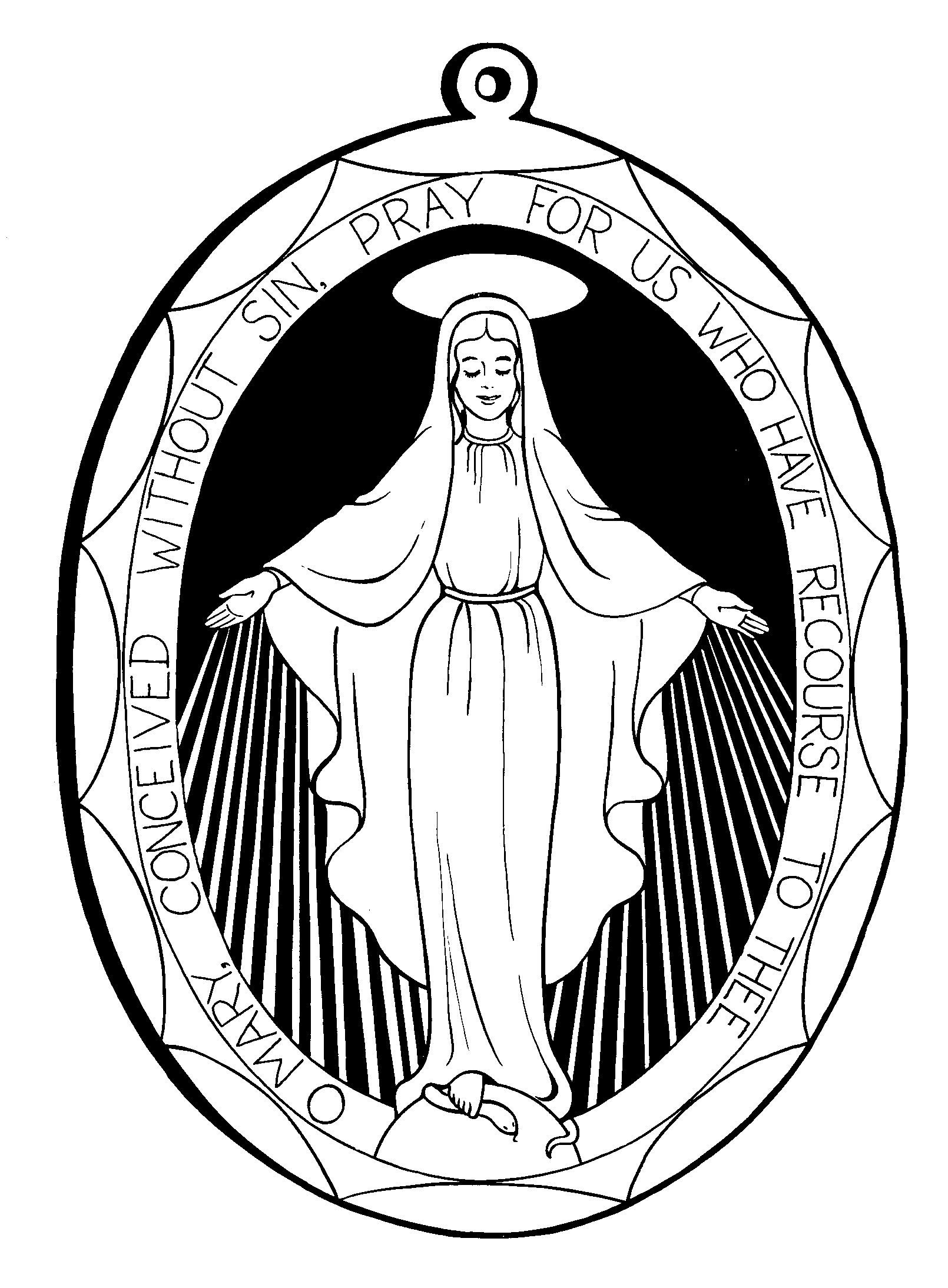 Miraculous Medal Coloring Pages, for December 8, Feast of.
