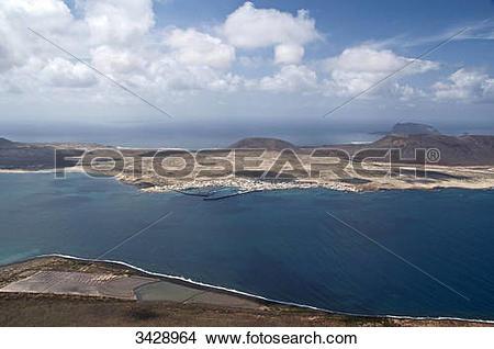 Stock Photo of View of La Graciosa, seen from Mirador del Rio.