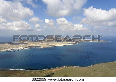 Stock Photograph of View from Mirador del Rio to Island La.
