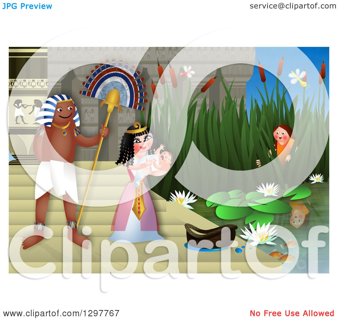 Clipart of Miriam Watching Baby Moses Discovered by the Egyptian.