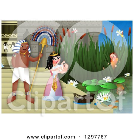 Clipart of Miriam Watching over Baby Moses Floating in a Basket on.