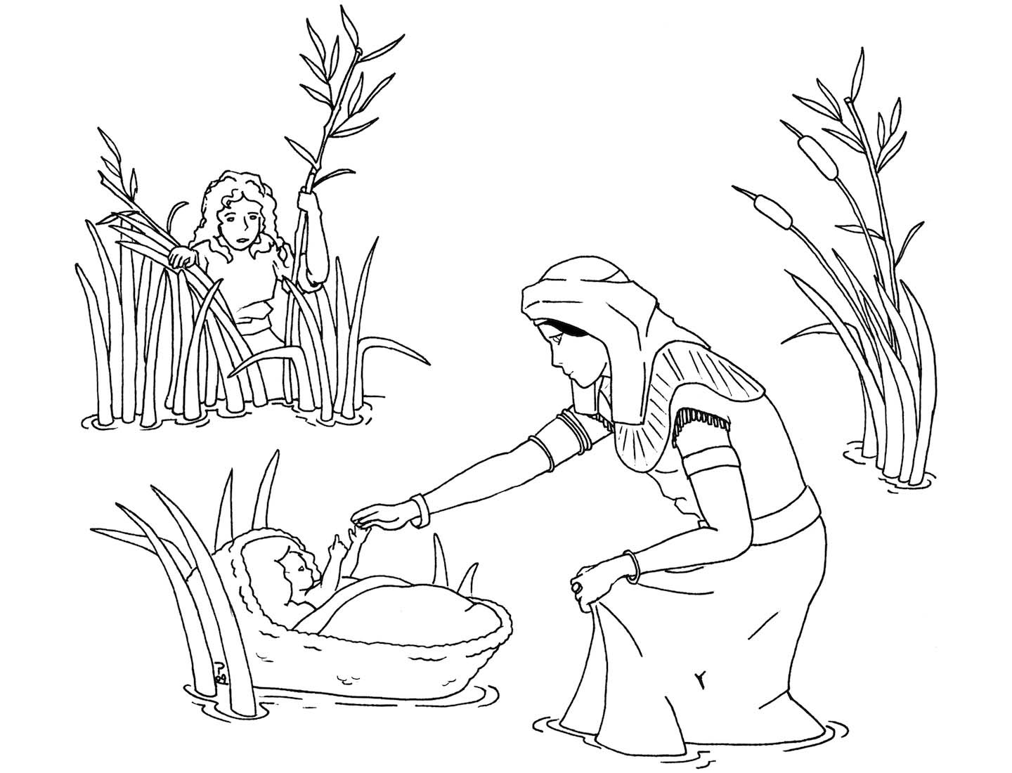 Baby Moses and Miriam Coloring Page with Moses Coloring Pages.