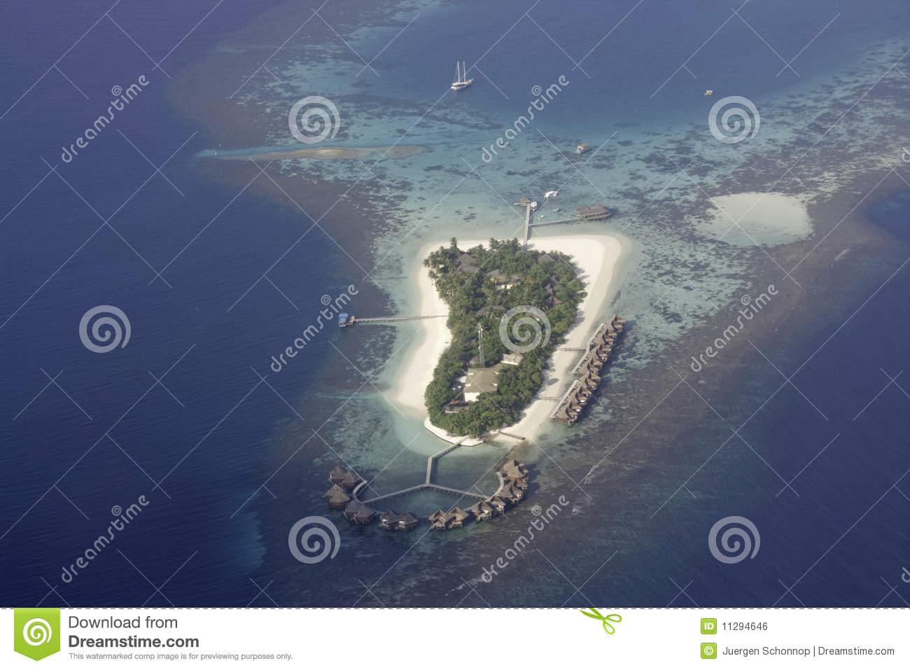 Aerial View Of Mirihi, Maldives Royalty Free Stock Image.