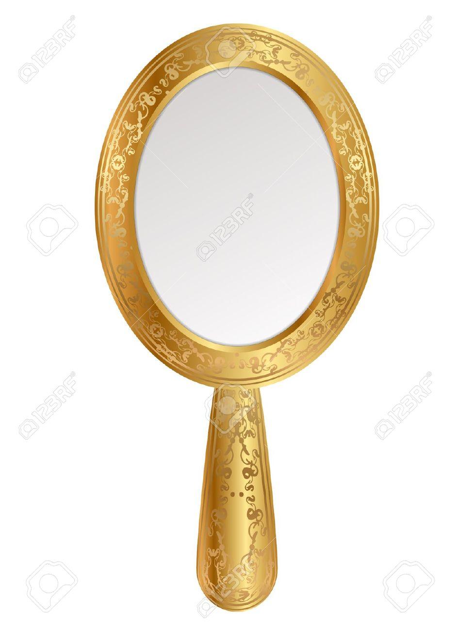 Vintage hand mirror clipart.