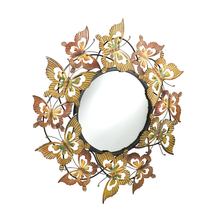 Butterfly Reflections Metal Wall Mirror.