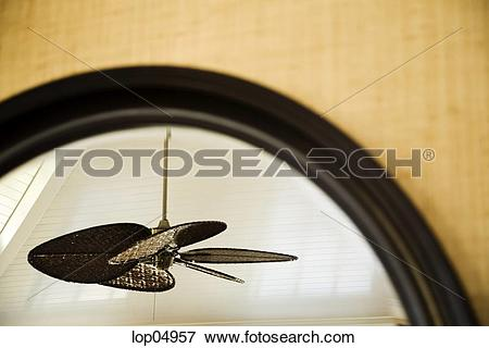 Picture of Reflection of Ceiling Fan in Mirror lop04957.