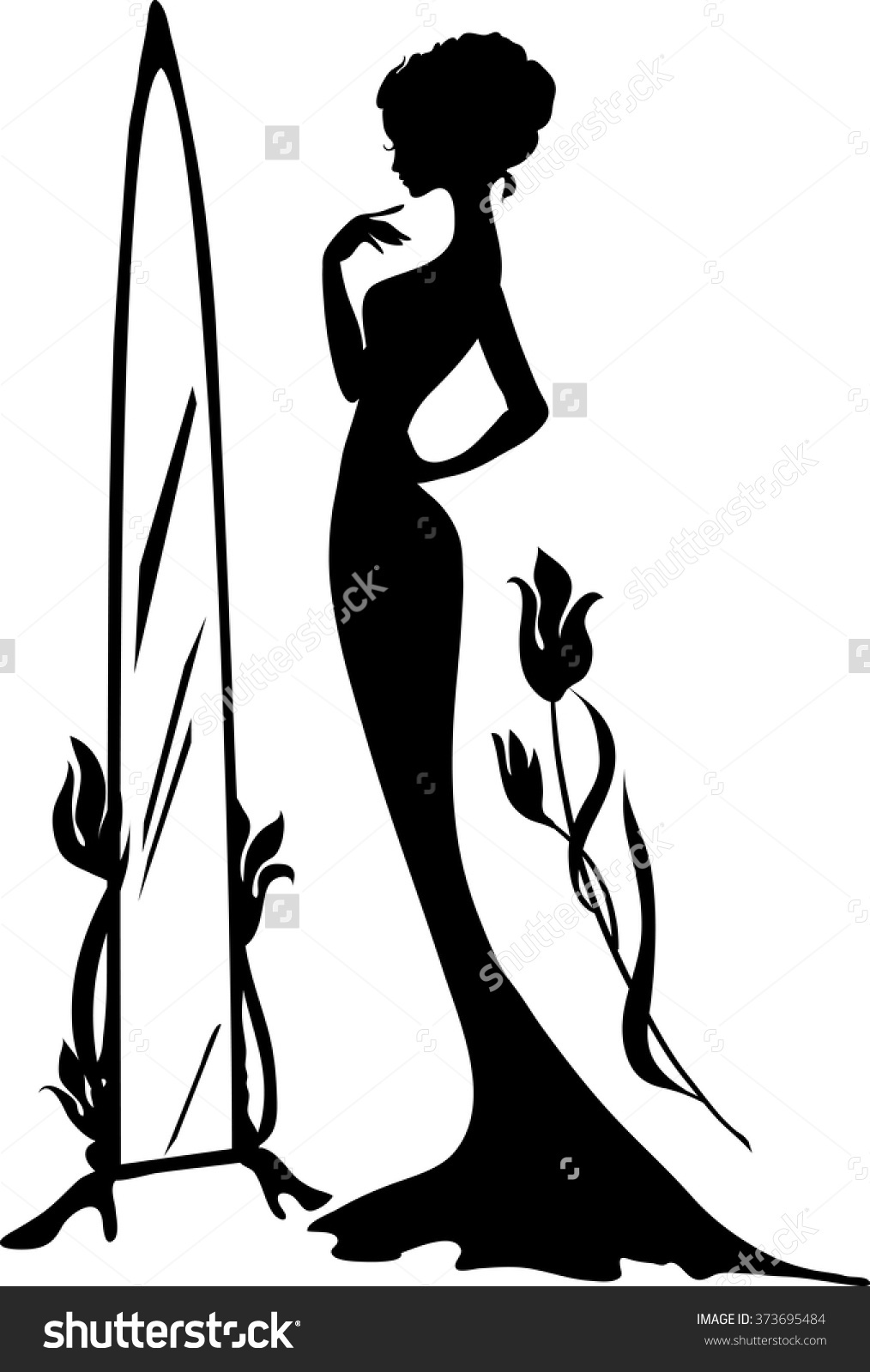 Woman Evening Dress Vector Illustration Elegant Stock Vector.