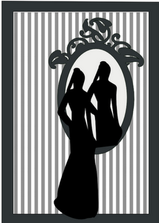 Mirror Silhouette. Use a better lady and put a real mirror behind.