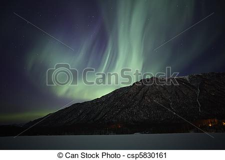 Stock Photography of Northern Lights over Mirror Lake near.
