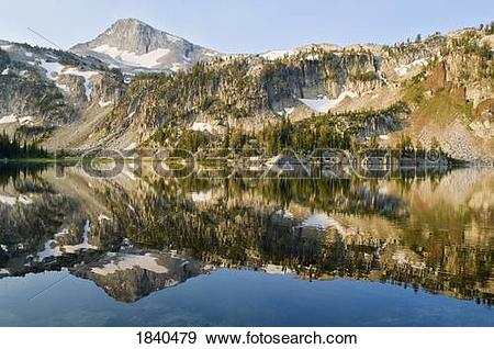 Stock Photograph of Eagle cap Peak and Mirror Lake, Eagle cap.