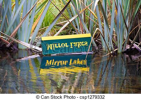 Stock Photo of Mirror Lake sign effect in New Zealand csp1279332.