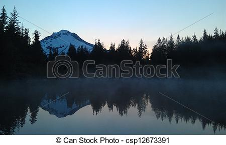 Stock Photographs of Mirror Lake shortly before sunrise looking at.