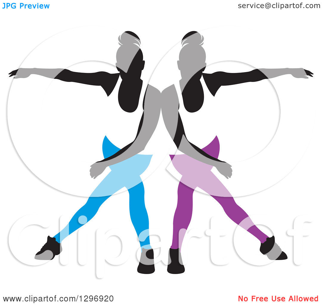 Clipart of a Black Silhouetted Female Dancers in Blue and Purple.