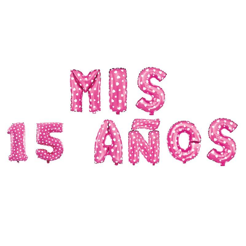Globo letras 40cm rosadas puntos \