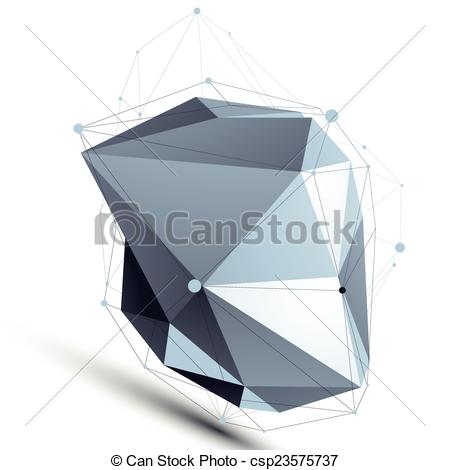 Vectors of Asymmetric abstract grayscale 3D shape, misshapen.