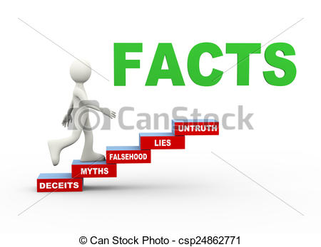 Stock Illustrations of 3d man facts myths word steps.