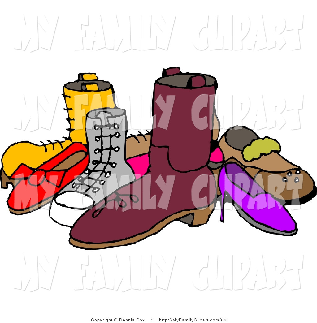 Clip Art of a Pile of Assorted Mismatched Shoes by Dennis Cox.