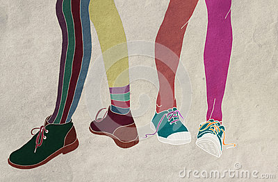 Mismatched Shoes Royalty Free Stock Image.