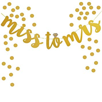 TripodGo Gold MISS TO MRS Glitter Banner for Prop Banner Bachelorette  Parties Decorations (Gold).