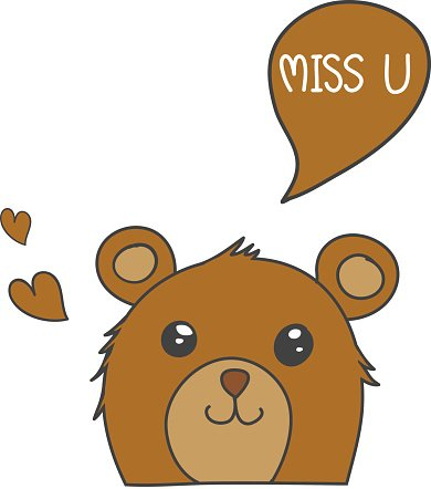 Brown bear smile with speech bubble \'Miss U\' and brown.