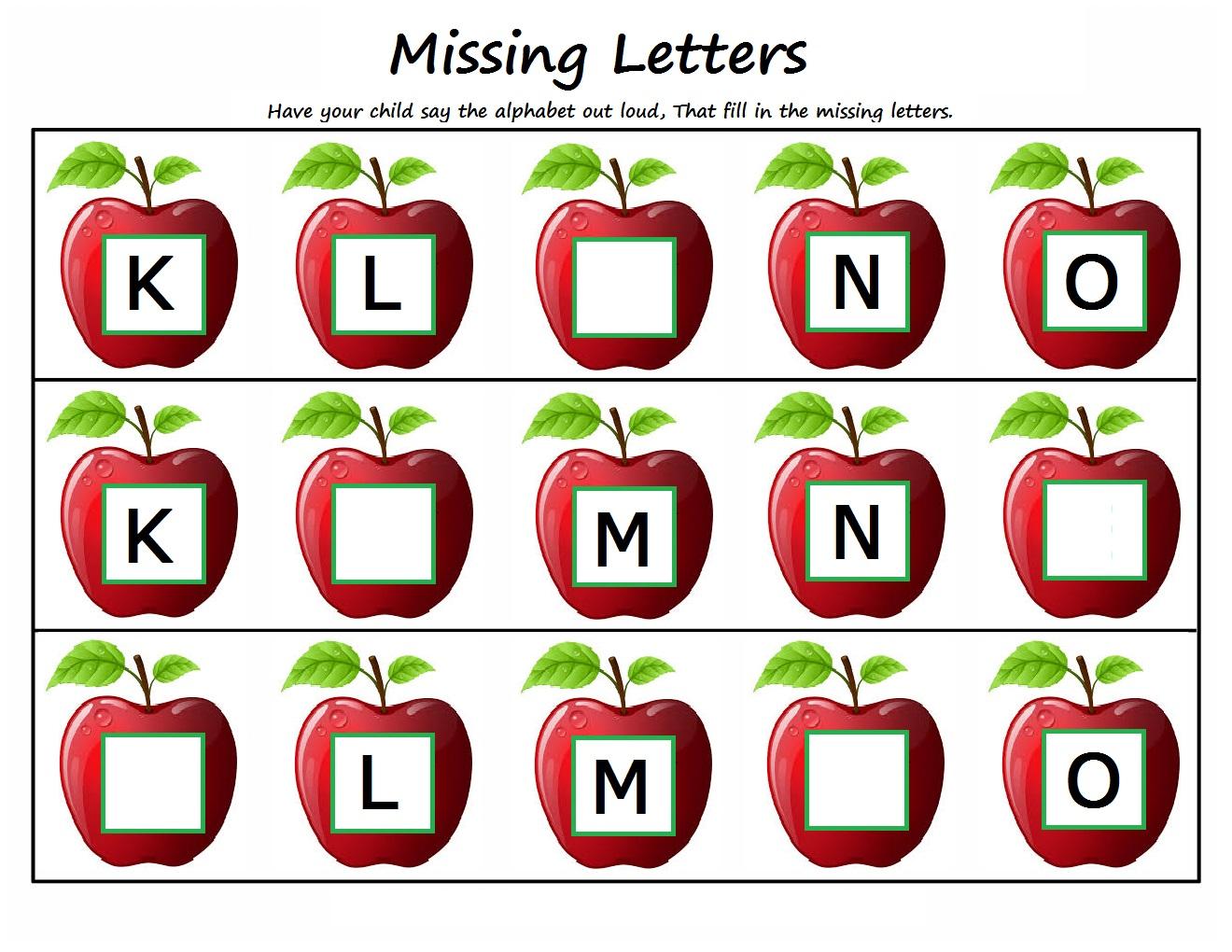 Worksheet #13231982: Missing Alphabet Worksheets for Kindergarten.