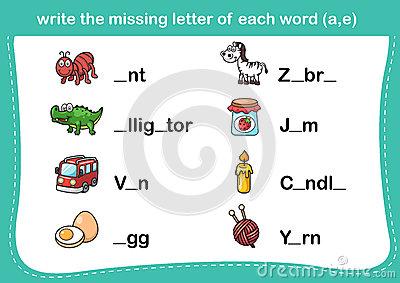Write The Missing Letter Stock Vector.