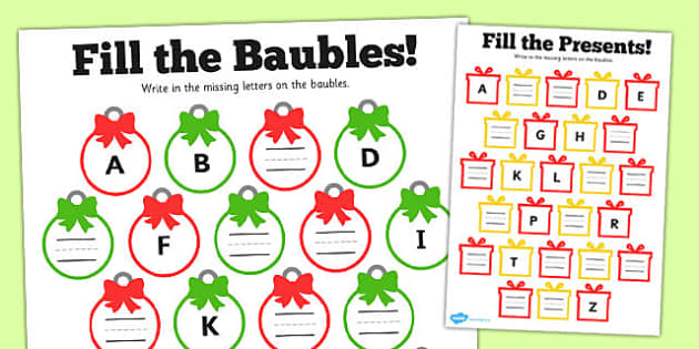 Christmas Missing Letters Activity Sheet.