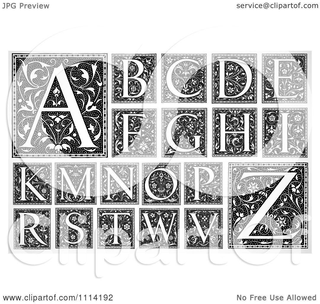 Clipart Black And White Floral Letters Missing J L Q U X Y.