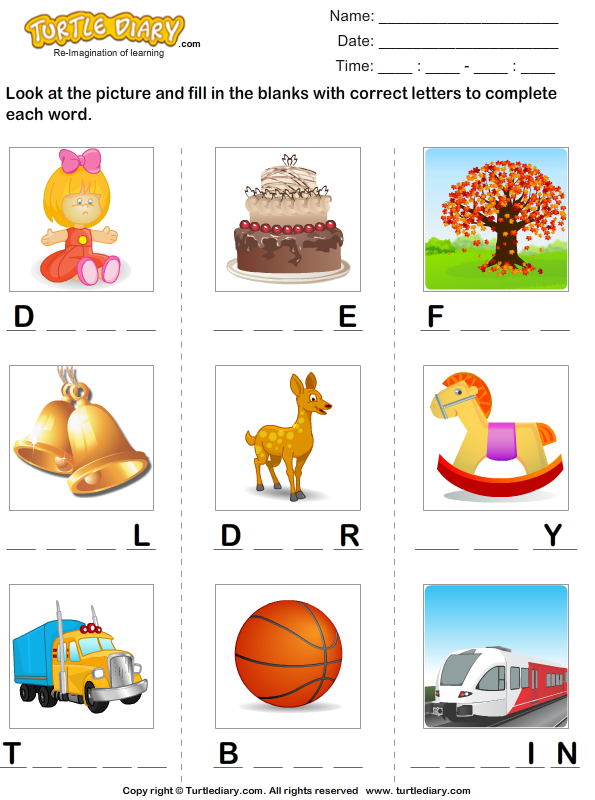 Find the Missing Letters to Complete the Words Worksheet.
