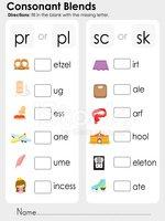 Consonant Blends : Missing Letter Worksheet for Education stock.