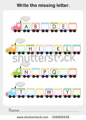 Write Missing Letter Worksheet Education Stock Vector 256800529.