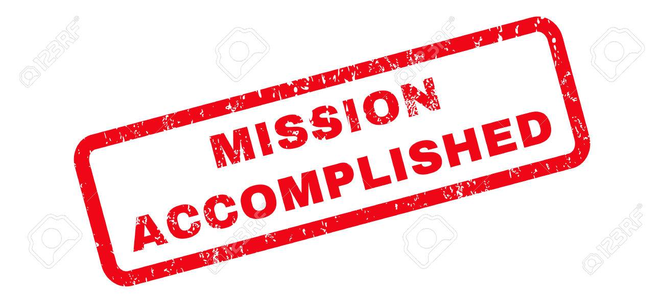 Mission Accomplished text rubber seal stamp watermark. Tag inside...