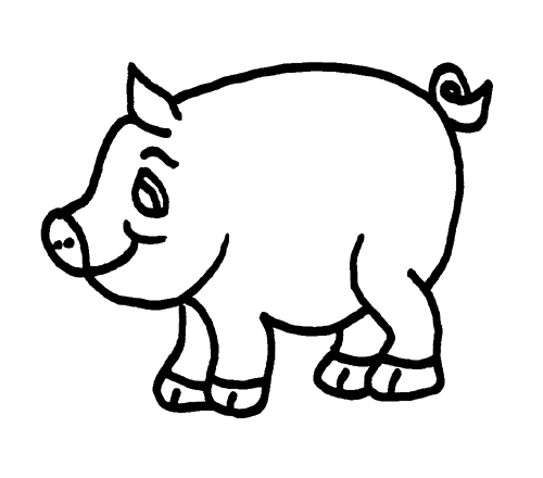Cute Pig Black And White Clipart#1919248.
