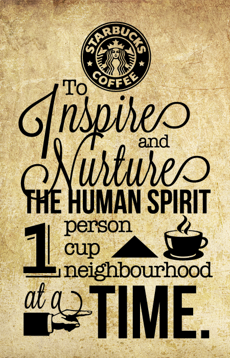 logo centric, mixed type styles, clip art (Starbucks Mission.