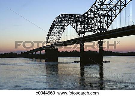 Stock Photography of Hernando Desoto Bridge over the Mississippi.