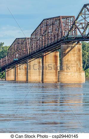 Stock Photo of vintage Mississippi River bridge.