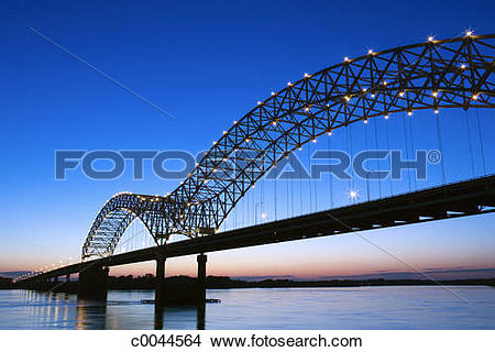 Stock Photo of Pinpoints of light dot the Hernando Desoto Bridge.