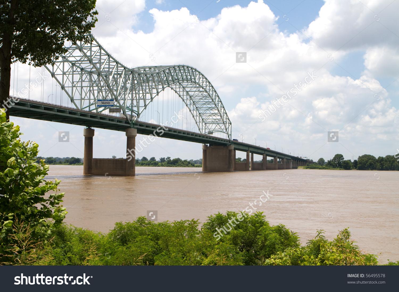Interstate 40 Bridge Over Muddy Mississippi Stock Photo 56495578.