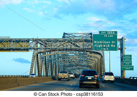 Stock Images of Horace Wilkinson Bridge in Mississippi river at.
