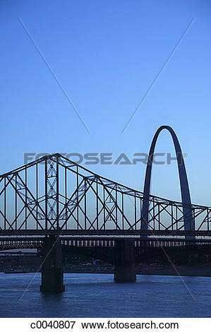 Picture of Gateway Arch and old steel bridge rising over.