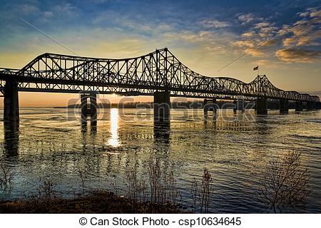 Stock Photo of Mississippi River Bridge at Sunset.