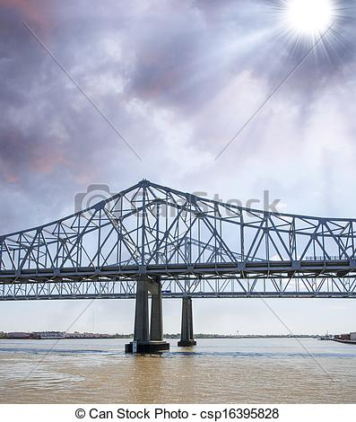 Stock Photo of Bridge over the Muddy Mississippi River.