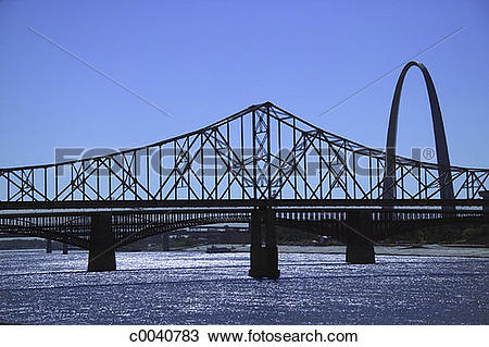 Stock Photo of Gateway Arch and bridge rising over Mississippi.